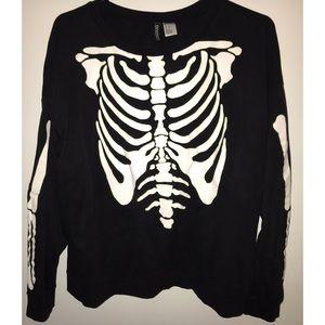 H&M skeleton print pullover sweater